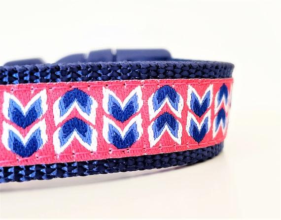 Modern Blooms Dog Collar / Adjustable / Small Dog Collar / Teacup / Tiny Dog Collar / Puppy / Dog Collars / Navy / Pink