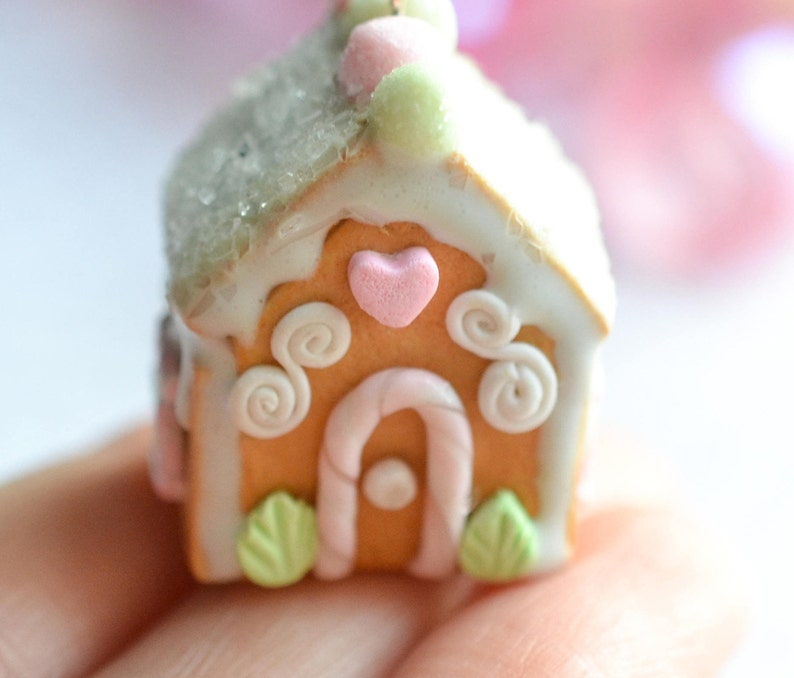 1 12 Scented Sugar Cookie House Miniature Food Jewelry Christmas Gingerbread House Free Shipping