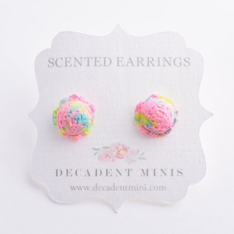 Scented Cotton Candy Ice Cream Scoop Earrings-Pink-Miniature image 0