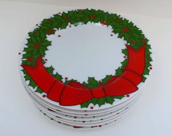 Fitz and Floyd Holly Wreath Bread Butter Plates set of 8 / 1970s Vintage Christmas Holiday Dishes Red Bow Green Holly