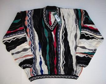 COOGI M Mens Sweater Medium Mercerised Cotton Hip Hop V Neck Coogi Multicolor Earthtones Geometric