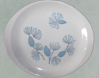Blue Spruce Marcrest Oval Serving Platter Mid Century Dish Aqua Pinecones Mint Condition