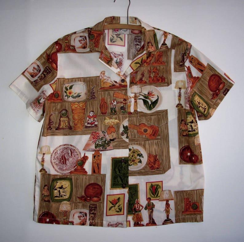8873ae24 80s Mens S Hawaiian Shirt Hilo Hattie Ukulele Tropical Print   Etsy