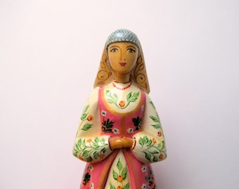 Russian Wooden Figurine Hand Painted Vintage Folk Art Russia Delicate Intricately Carved and Painted