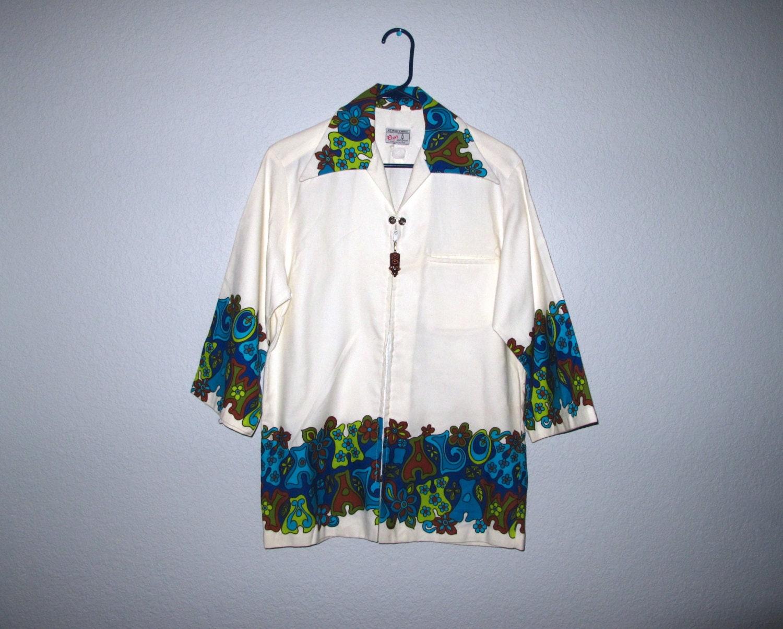 1960s – 70s Men's Ties | Skinny Ties, Slim Ties Reyns Mens Wear 60S Reyn Hawaiian Shirt Medium Unisex Way Cool Mod Border Print Aloha Hawaii Super Rare $19.00 AT vintagedancer.com
