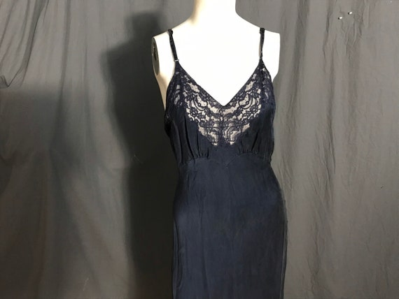 Vintage 1940's navy Fischer Heavenly Silk Lingerie