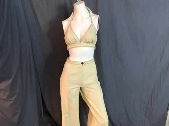 Vintage 1970's halter top and high waist bell bott