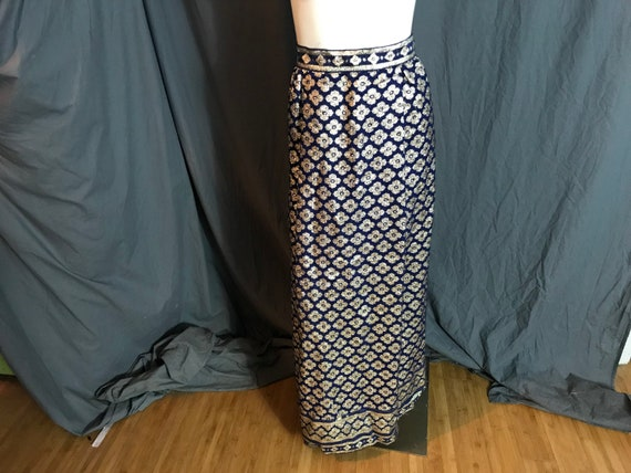 Vintage 1960's Tina Leser blue and gold long skirt