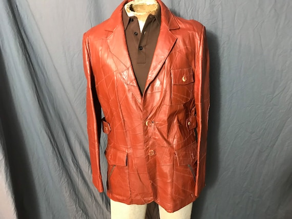 1970's men's Brass Bullet rust leather patchwork j
