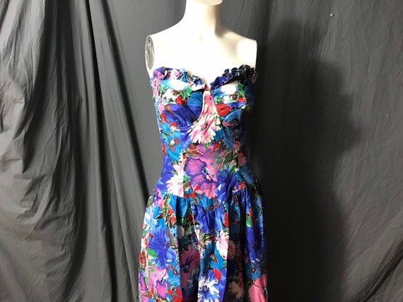 Vintage Act I 1980's strapless sun dress M