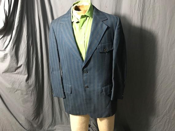 Vintage Merit blue striped belt back suit jacket 4