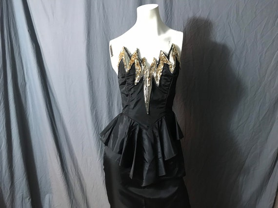 Vintage 1980's Climax beaded peplum fitted dress 9