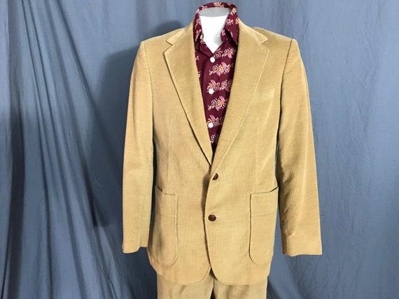 Vintage 1970's Haggar brown corduroy suit 42