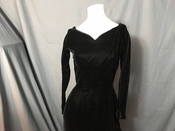 Vintage Black Velvet Gigi Young 1950's Dress S