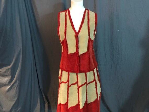 Vintage 1970's leather patchwork crochet skirt and