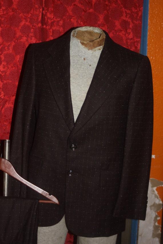 Vintage Brown et blanc vérifient 2pc veston et pantalon Bellini 40 S