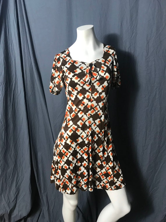 Vintage 1970's mod mini dress S - image 3