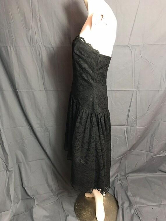 Vintage 1980's Black Corset Lace Drop Waist Full … - image 6