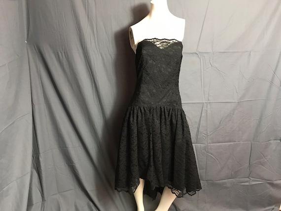 Vintage 1980's Black Corset Lace Drop Waist Full … - image 1