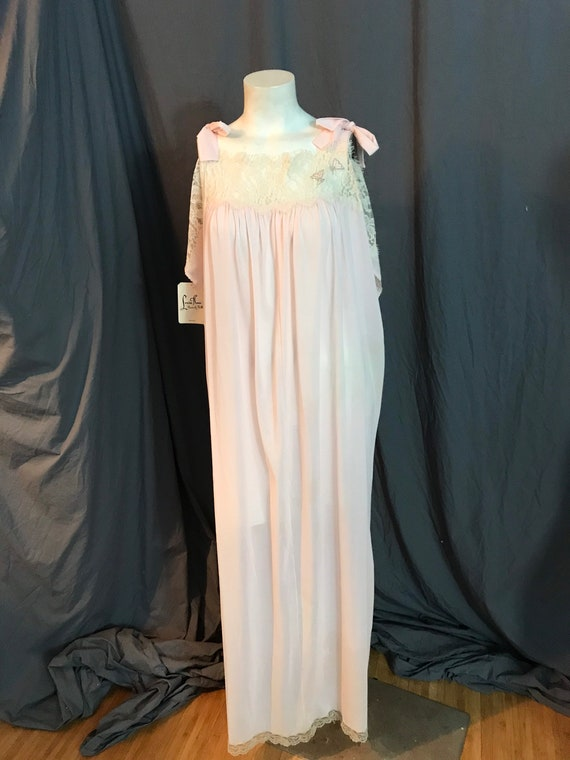 Vintage 70's Lucie Ann Deadstock long pink nightg… - image 7