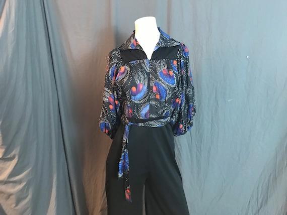 Vintage rayon 1970's jumpsuit M