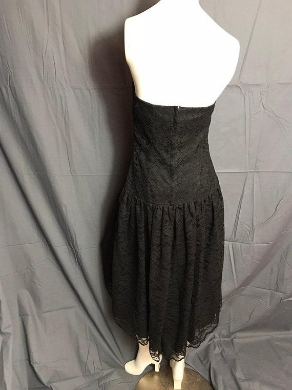 Vintage 1980's Black Corset Lace Drop Waist Full … - image 3
