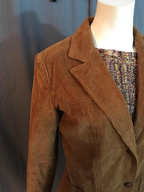 Vintage 1970's brown corduroy western suit jacket… - image 3
