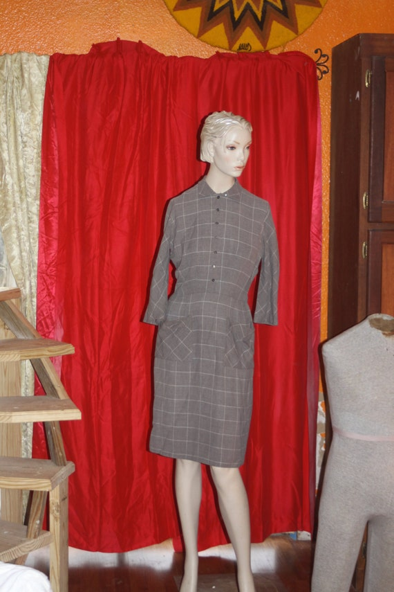 Vintage 40's L'Aiglon gray fitted dress M
