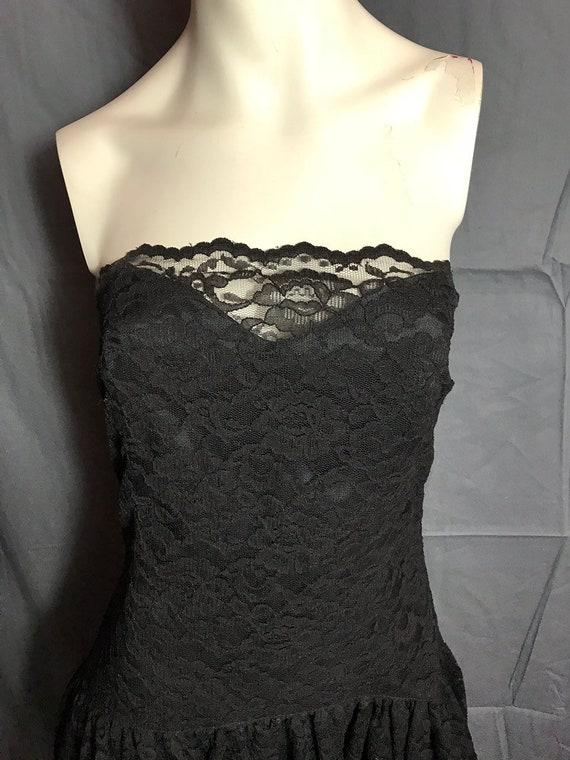 Vintage 1980's Black Corset Lace Drop Waist Full … - image 5