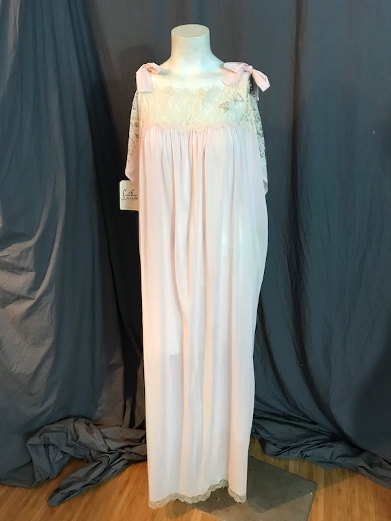 Vintage 70's Lucie Ann Deadstock long pink nightg… - image 4