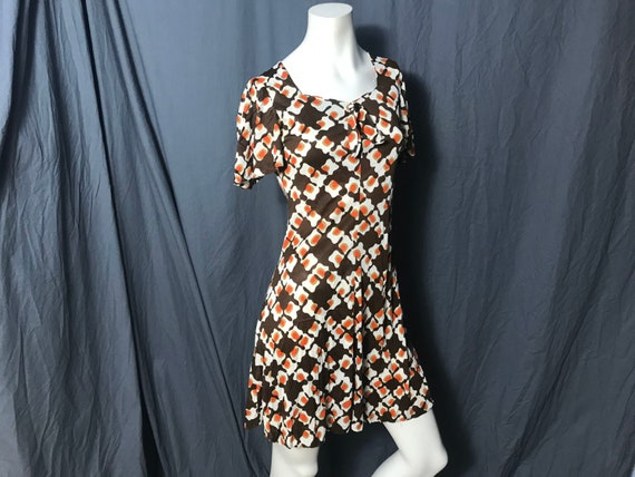 Vintage 1970's mod mini dress S - image 1