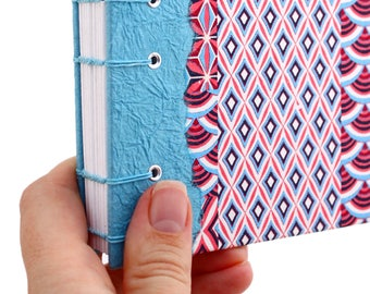 Lay Flat Journal - Unlined Journal - Pink and Blue Geometric Pattern - Japanese Chiyogami Paper - 160 Pages - handmade by Ruth Bleakley
