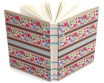 Lay Flat Journal - Flower Stripe Journal - handmade by Ruth Bleakley - 160 Page Unlined Journal