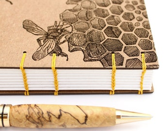 Honeybee Journal, Beekeeper Gift - Coptic Journal - Lay Flat Journal - Unlined Journal - 160 Pages - handmade by Ruth Bleakley