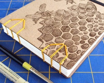 Honeybee Sketchbook with Laser Engraved Covers and Watercolor paper - lays flat - gift for an artist, lovely field journal - 48 Pages