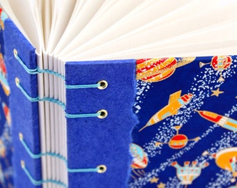 Space Journal, Outer Space Gift - Coptic Journal - Unlined Journal - Japanese Chiyogami Paper - 160 Pages - handmade by Ruth Bleakley