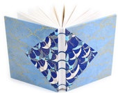 Blue Cranes and Clouds Journal - Blank Unlined Journal with decorative Japanese paper covers - 166 pages, lays flat, made by Ruth Bleakley