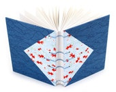 Waves and Goldfish - Handmade Unlined Journal with decorative Japanese paper covers - 166 pages, lays flat - free gift box available