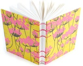 Pink and Yellow Flower Journal - Lays flat when open for easy writing or sketching - blank and unlined, 160 Pages - free gift box available
