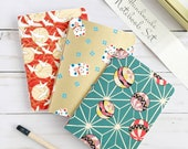 Handmade Notebook Gift Set, Gorgeous Japanese Paper Covers, 40 pages, Recycled unlined inside paper, 4x5.5, A6, Comes with a free gift box!