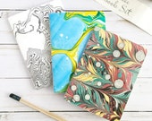 Handmade Notebook Gift Set, Hand-marbled Paper Covers, Recycled unlined inside paper, 4x5.5, A6, Comes with a free gift box!