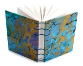 Marbled Journal - blue, gold, black - Lays flat when open for easy writing or sketching - unlined, 160 Pages - free gift box available