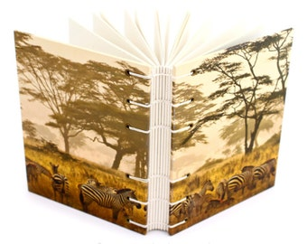 Savannah Journal with Zebras - handmade by Ruth Bleakley - 160 Page Unlined Journal