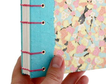 Lay Flat Journal - Unlined Journal - Pink and Blue Plum Blossoms - Japanese Chiyogami Paper - 160 Pages - handmade by Ruth Bleakley