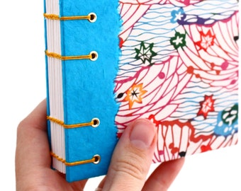 Unlined Journal - Lay Flat Journal - Blue and Red Japanese Katazome Paper - handmade by Ruth Bleakley- 160 pages