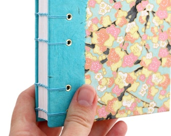 Lay Flat Journal - Unlined Journal - Blue and Pink Cherry Blossoms - Japanese Chiyogami Paper - 160 Pages - handmade by Ruth Bleakley