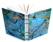 Marbled Journal - gold, blue, green - Lays flat when open - unlined, 160 Pages - free gift box available - One of a Kind Journal