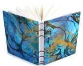 Marbled Journal - gold, blue, black - Lays flat when open - unlined, 160 Pages - free gift box available - One of a Kind Journal