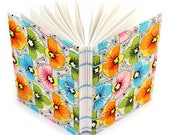 Colorful Flower Journal - Cloth Cover - Lays flat when open for easy sketching or writing - 160 Unlined Pages - Free gift box available