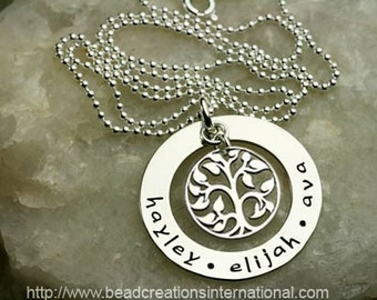 NEW SMALLER Our Family Tree of Three Hand Stamped Necklace